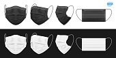Medical face mask, black and white. Set of isolated masks for the doctor or nurse. Protection against coronavirus, virus, dust, dirty air. Vector EPS 10