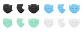 Medical face mask, blue, black, white, green. Set of isolated masks for the doctor or nurse. Protection against coronavirus, virus, dust, dirty air. Vector EPS 10.