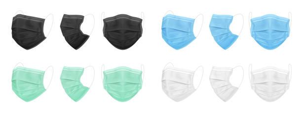 医療フェイスマスク、青、黒、白、緑。医師や看護師のための分離マスクのセット。 - マスク点のイラスト素材/クリップアート素材/マンガ素材/アイコン素材
