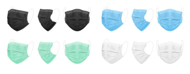 Medical face mask, blue, black, white, green. Set of isolated masks for the doctor or nurse. Medical face mask, blue, black, white, green. Set of isolated masks for the doctor or nurse. Protection against coronavirus, virus, dust, dirty air. Vector EPS 10. wearing mask stock illustrations