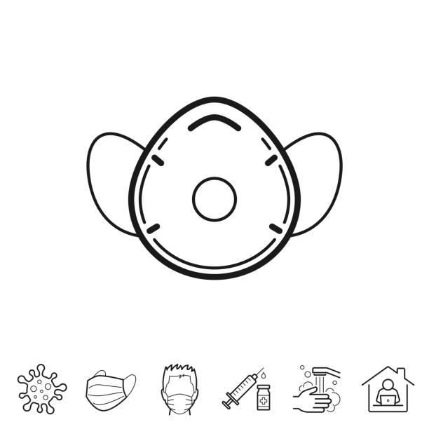 medizinische gesichtsmaske - ffp2, ffp3. liniensymbol - bearbeitbarer strich - ffp2 maske stock-grafiken, -clipart, -cartoons und -symbole