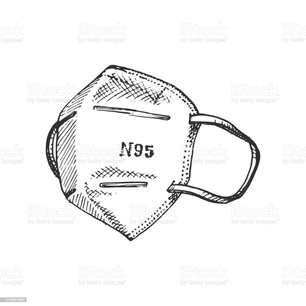 A medical face mask, graphic illustration. Hand sketch of N95 respirator. A medical mask, graphic illustration. Hand sketch of N95 respirator. Protective Face Mask stock vector