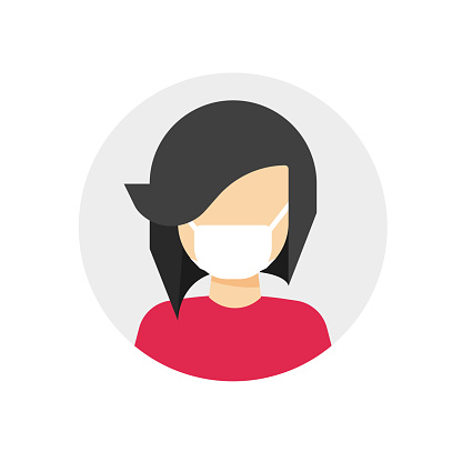Medical face mask on woman person vector icon flat cartoon illustration, female character protected with medicine surgery mask isolated sign modern design pictogram image