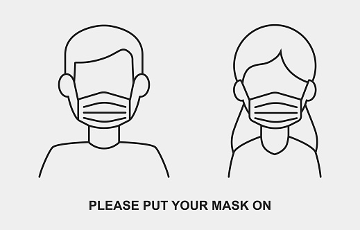 Medical face mask vector icon with man and woman silhouette in line style. V1