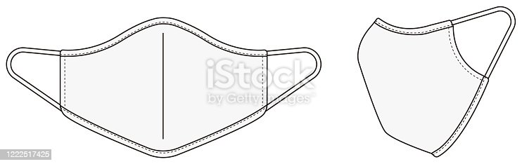 Medical face mask vector template illustration / white