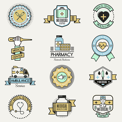 Medical family center hospital clinic care badge design templates charity concepts vector healthcare concept
