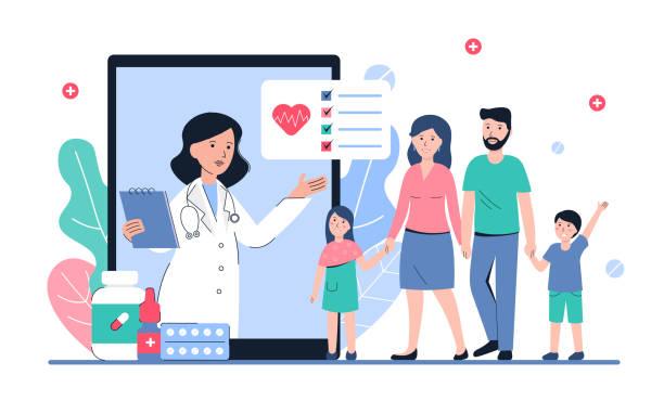 medical family concept banner vector art illustration