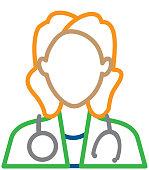 Medical female doctor or surgeon Flat Design Icon Set - Illustration