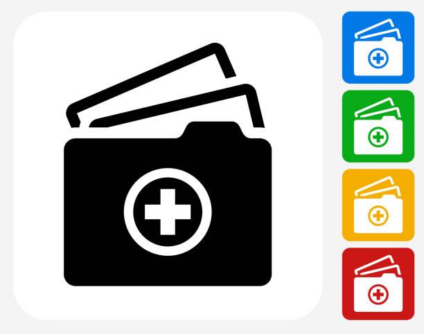 illustrazioni stock, clip art, cartoni animati e icone di tendenza di medical file icona piatto di design grafico - scheda clinica