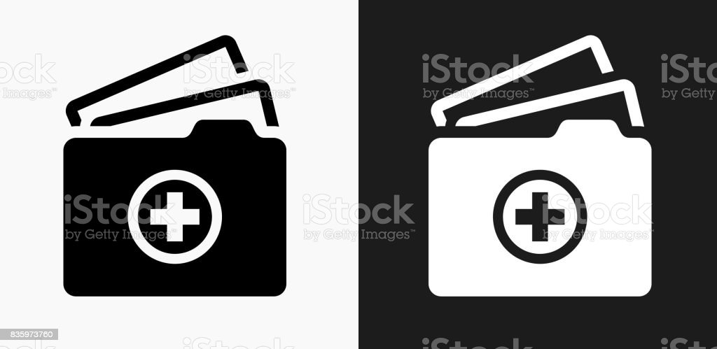 Medical Files Icon on Black and White Vector Backgrounds vector art illustration