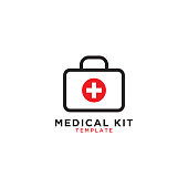 Medical first aid kit graphic design template
