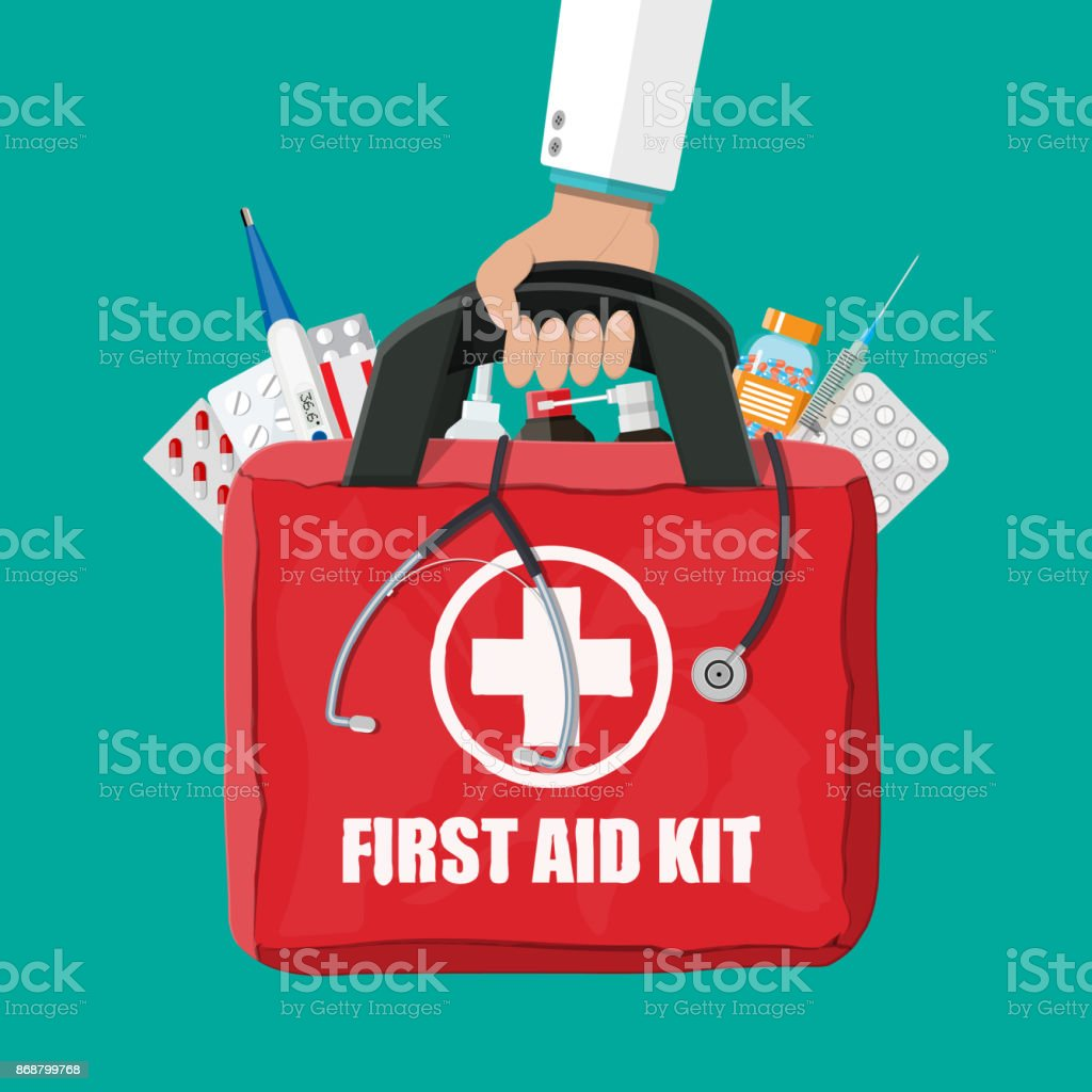 Medical first aid kit with pills and thermometer vector art illustration