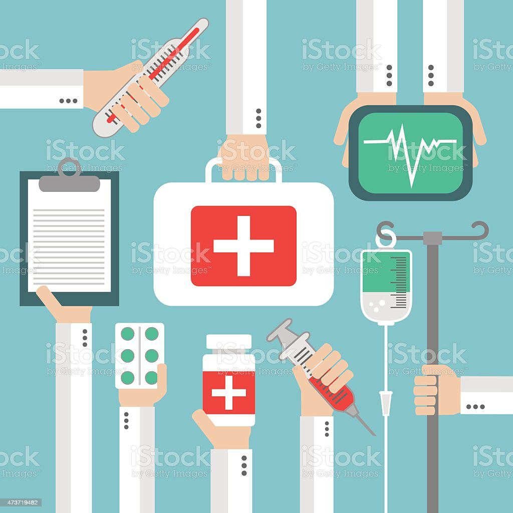 Medical Flat background with hand vector art illustration