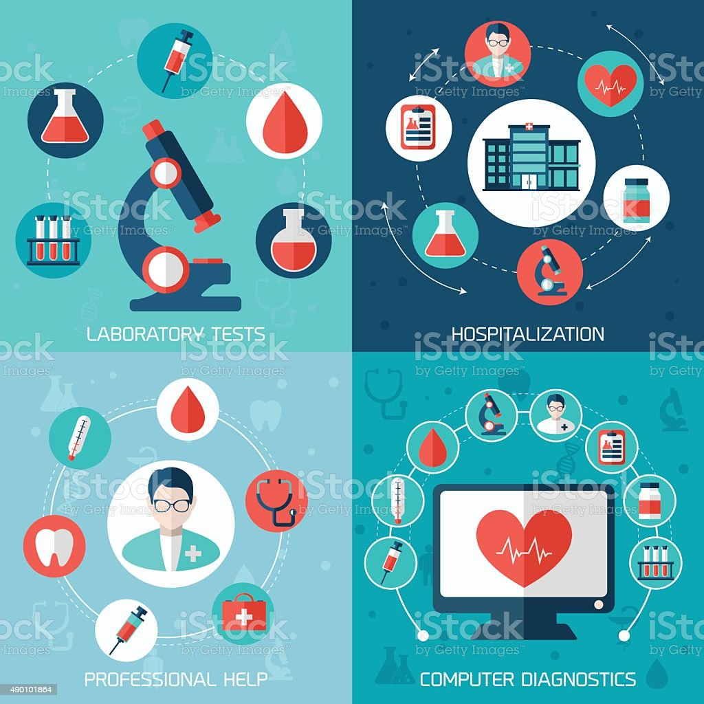 Medical flat banners set vector art illustration