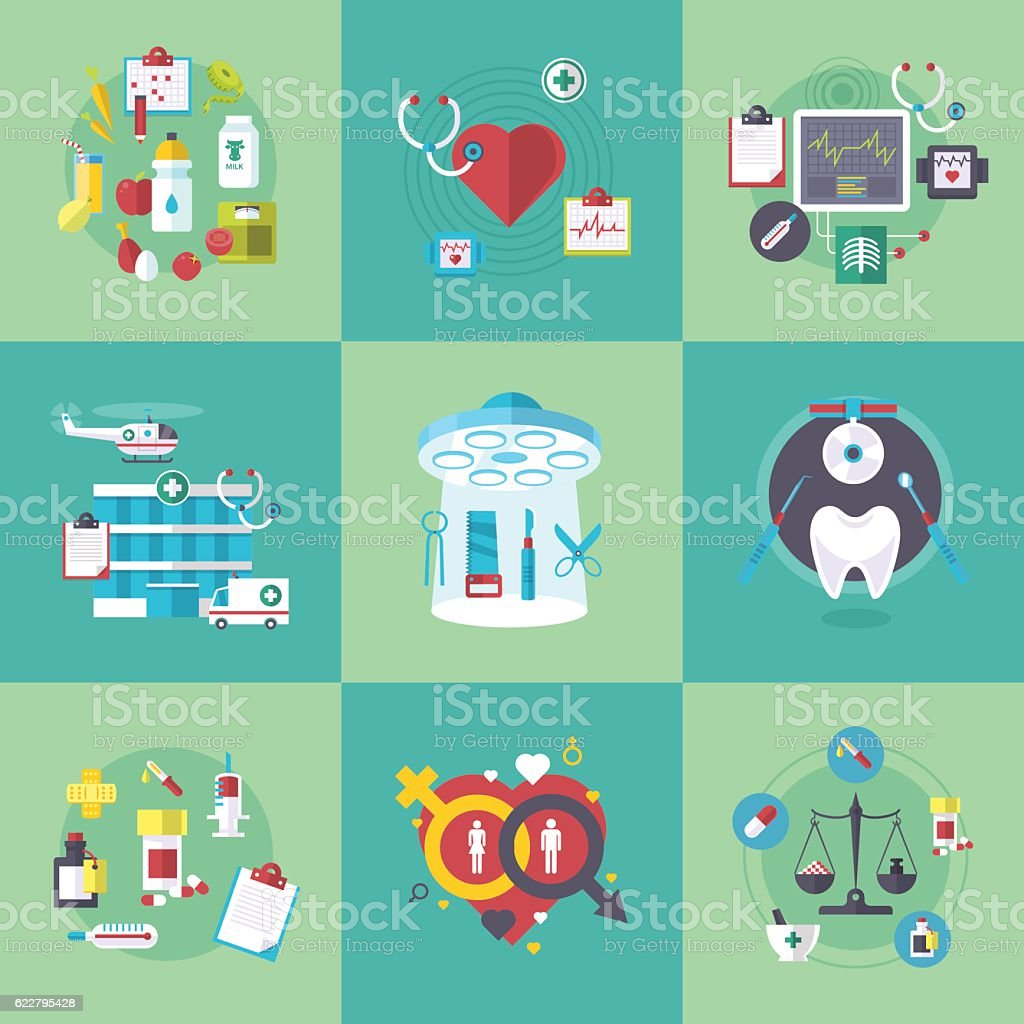 Medical flat banners set vector illustration vector art illustration