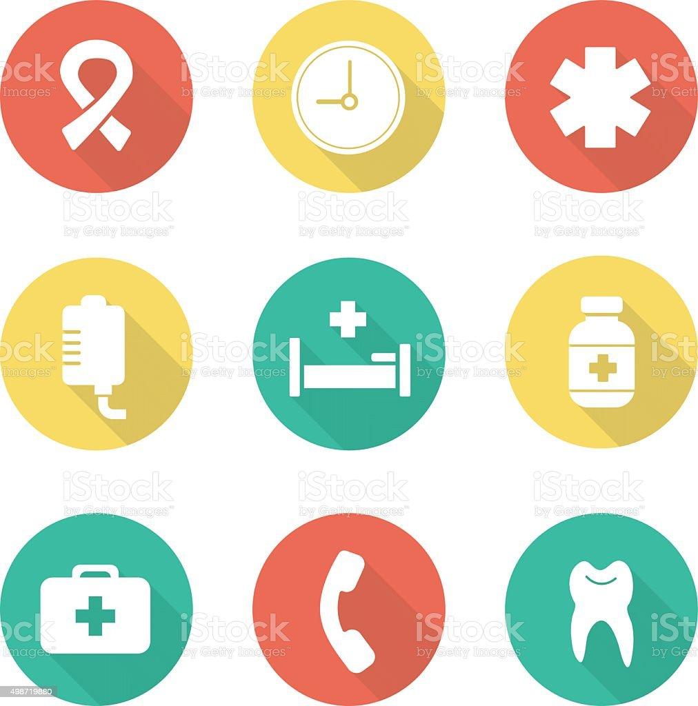 Medical flat design icons set vector art illustration