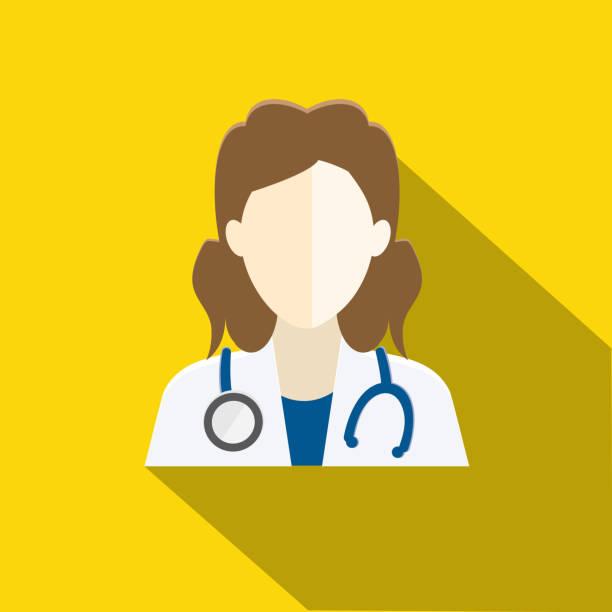 illustrazioni stock, clip art, cartoni animati e icone di tendenza di medical flat design themed icon set with shadow - dottoressa
