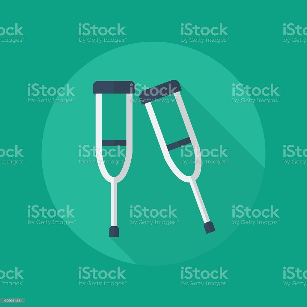 Medical Flat Icon. Crutches - ilustración de arte vectorial