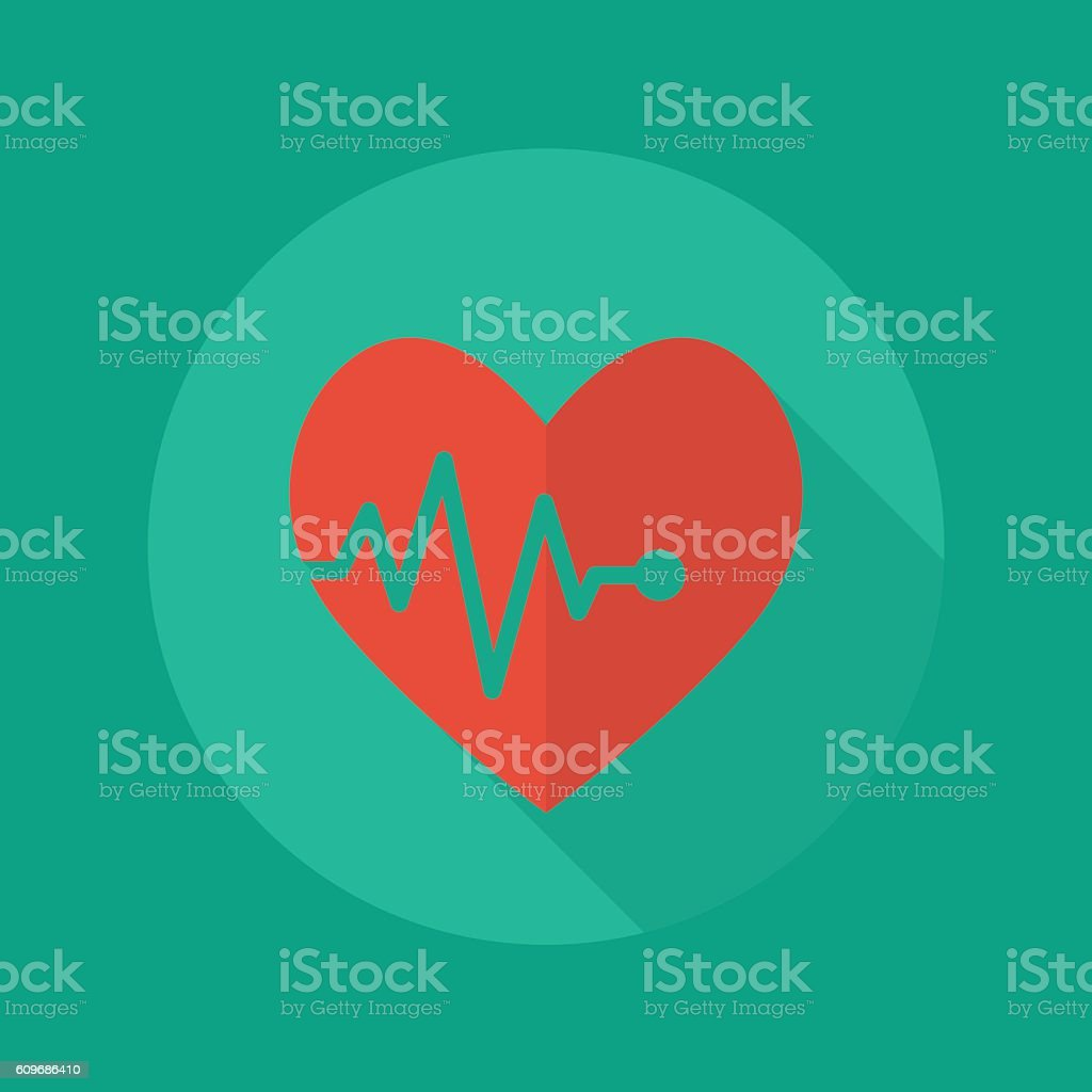 Medical Flat Icon. Heartbeat vector art illustration