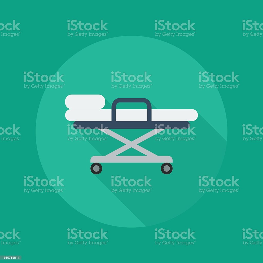 Medical Flat Icon. Stretcher vector art illustration