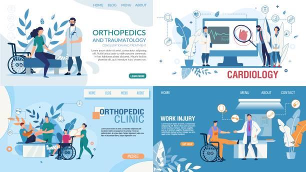 bildbanksillustrationer, clip art samt tecknat material och ikoner med medicinsk plan målsida designmallar set - kardiolog
