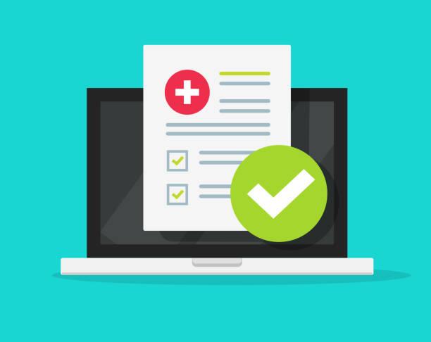 醫療表格檢查清單與結果資料和批准的核取記號線上筆記本電腦螢幕向量圖示,平面卡通電腦和臨床檢查表檔報告和核取方塊,遠端醫療服務 - 健康科技 幅插畫檔、美工圖案、卡通及圖標