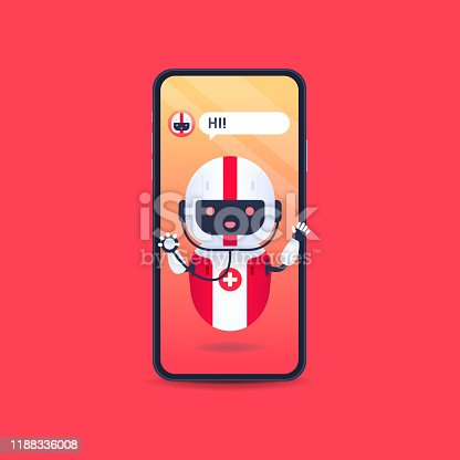 Medical friendly android robot with stethoscope in smartphone. Medical chatbot future concept. Online Doctor, medical consultation.