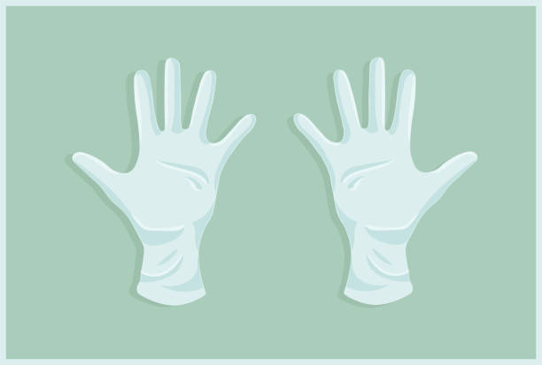 Medical gloves Medical gloves with flat background protective glove stock illustrations