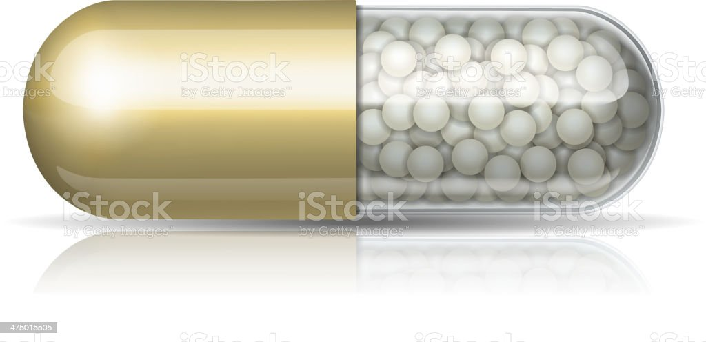 Medical golden capsule with granules vector art illustration
