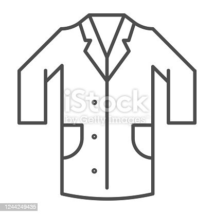 istock Medical gown thin line icon, clothes concept, laboratory uniform sign on white background, hospital staff and doctors costume icon in outline style for mobile concept web design. Vector graphics. 1244249435