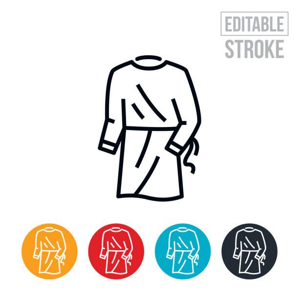 Medical Gown Thin Line Icon - Editable Stroke vector art illustration
