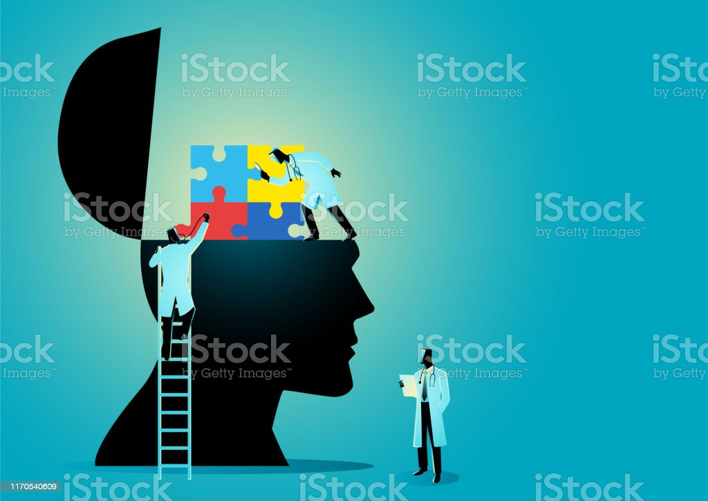 Medical Graphic Autism Syndrome Doctors analysing a human head with colorful puzzle symbol which represent autism syndrome Alertness stock vector