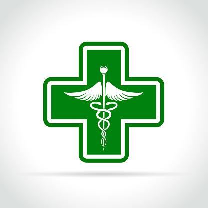 Medical Green Cross Icon - Immagini vettoriali stock e altre immagini di Accudire