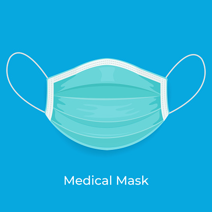 Medical green face mask or or Surgical face mask on blue template