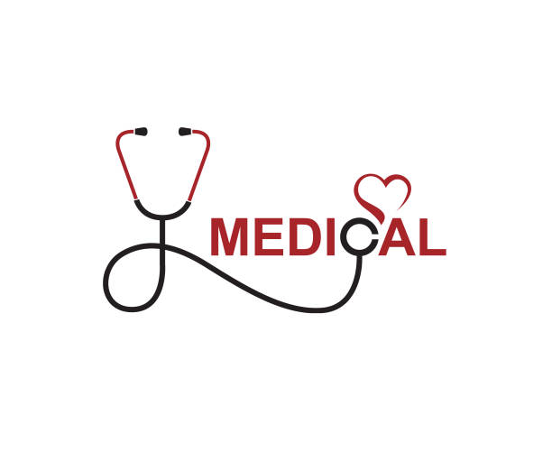 medical halth care icon abstract medical halth care icon with stethoscope and heart stethoscope stock illustrations