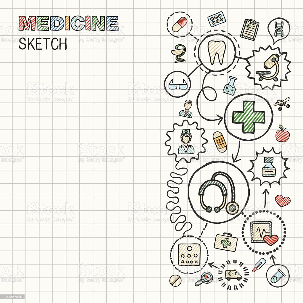 Medical hand draw integrated vector sketch icons set on paper. vector art illustration