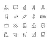 Medical Hand Draw Line Icon Set