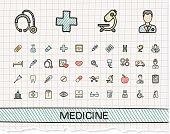 Medical hand drawing line icons. Vector doodle pictogram set: color pen sketch sign illustration on paper with hatch symbols: hospital, emergency, doctor, nurse, pharmacy, medicine, health care.