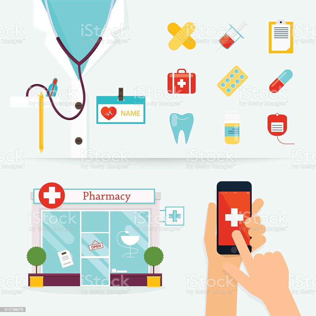 Salud médica, cuidado y concepto de emergencia. Primeros auxilios, medicamentos - ilustración de arte vectorial