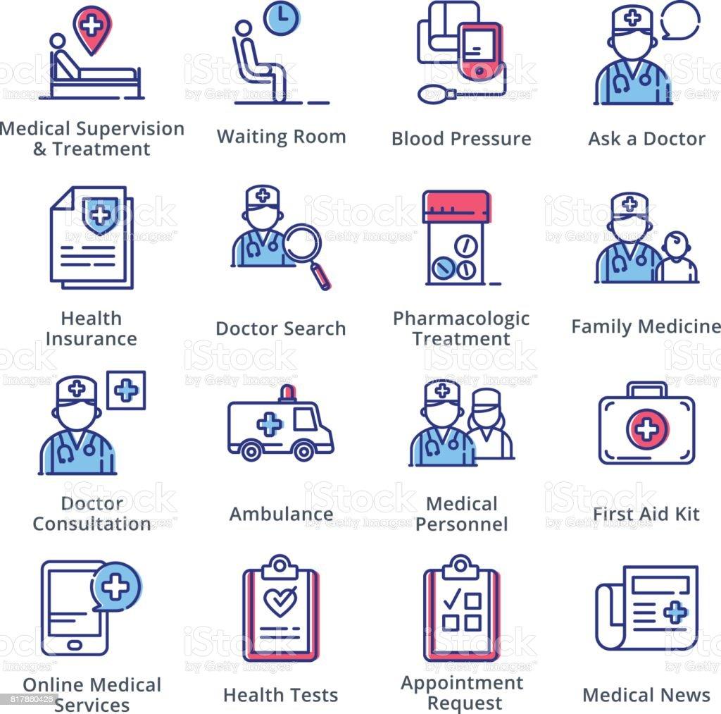 Medical & Health Care Icons Set 2 - Outline Series vector art illustration