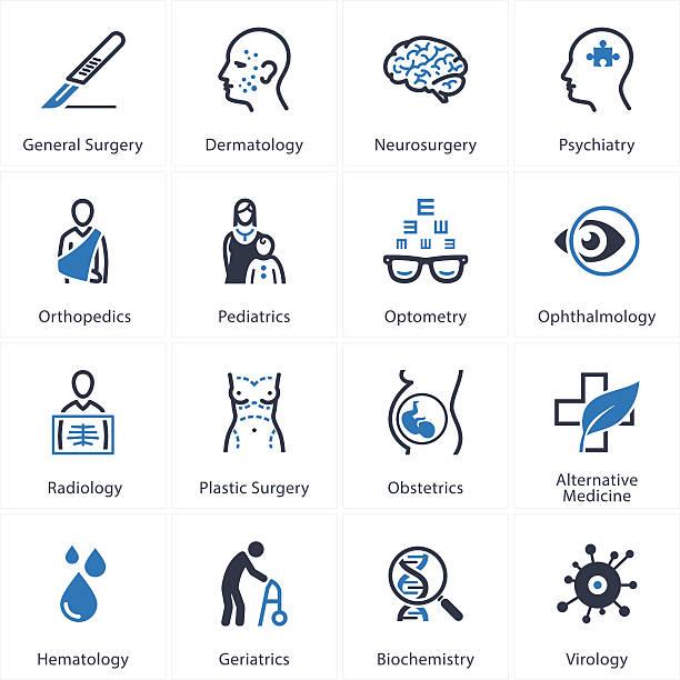 ilustraciones, imágenes clip art, dibujos animados e iconos de stock de medical & conjunto de iconos de cuidado de la salud-especialidades 2 - geriatría