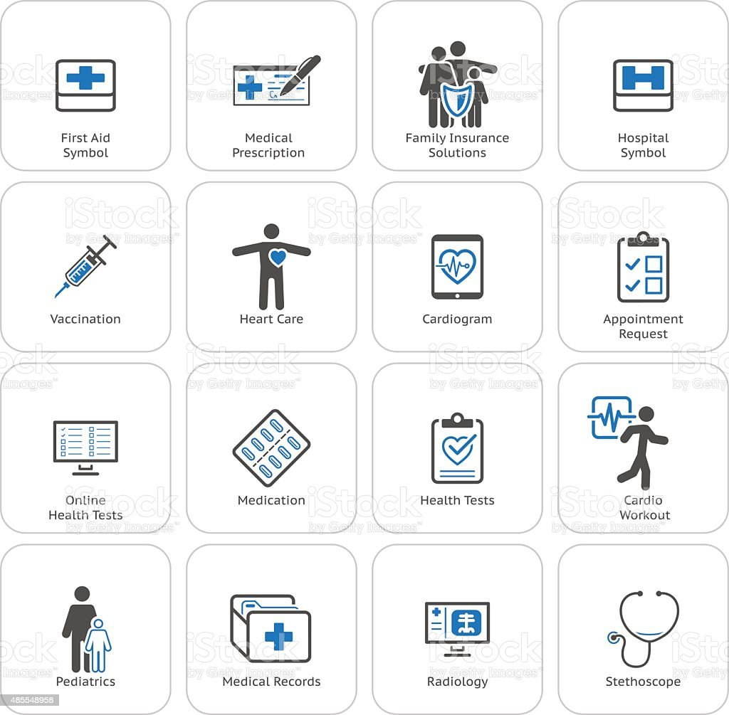 Medical & Health Care Icons Set. Flat Design. vector art illustration