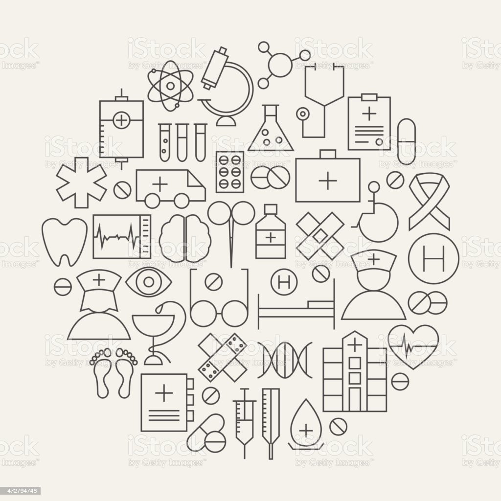 Medical Health Care Line Icons Set Circular Shaped vector art illustration