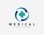istock medical health care logo with stethoscope, vector icon illustration 1304247363