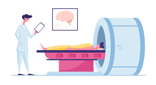 Medical Health Care. Patient Lying Down on Mri Scan Machine with Doctor Standing Next to Him. Magnetic Resonance Imaging Digital Technology in Medicine Diagnostic. Cartoon Flat Vector Illustration Medical Health Care. Patient Lying Down on Mri Scan Machine with Doctor Standing Next to Him. Magnetic Resonance Imaging Digital Technology in Medicine Diagnostic. Cartoon Flat Vector Illustration scientific imaging technique stock illustrations
