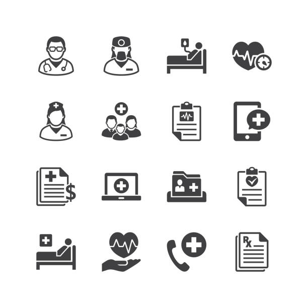 Medical & Health Care Services Icons Hospital - Medical & Health Care Services Icons - Set 1 healthcare and medicine stock illustrations
