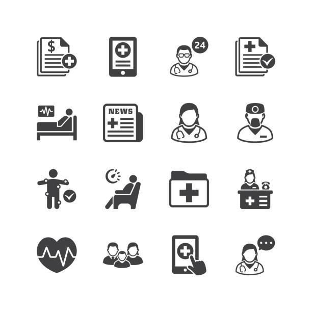 ilustrações, clipart, desenhos animados e ícones de ícones dos serviços médicos e de saúde - consultório médico