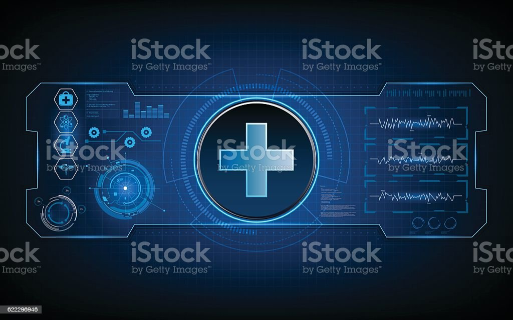 medical health care tech hud ui virtual sci fi concept vector art illustration