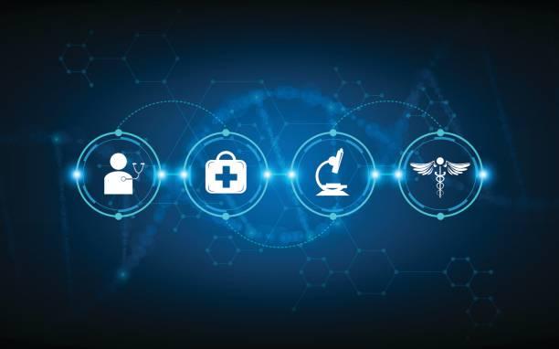medizinische Gesundheitsversorgung Timeline Diagnostik Verarbeitung – Vektorgrafik