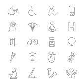 Medical Health Fitness and Science Set Of Healthy Icons Line
